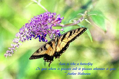 Photograph - Eastern Tiger Swallowtail Painting With Butterfly Quote  by Carol Montoya