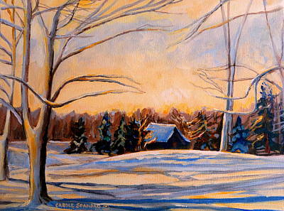 Eastern Townships Painting - Eastern Townships In Winter by Carole Spandau