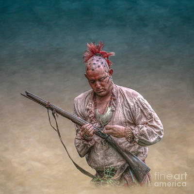 Historical Digital Art - Eastern Woodland Warrior With Musket by Randy Steele