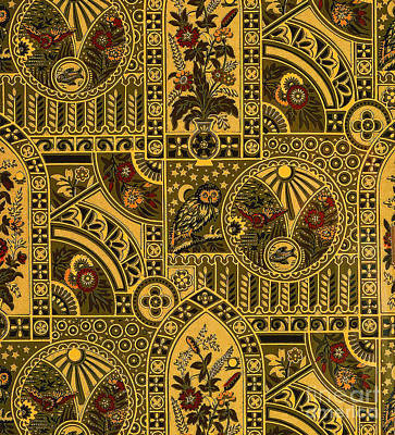 Painting - Eastlake Gilt Victorian Tapestry With Owl by Unknown