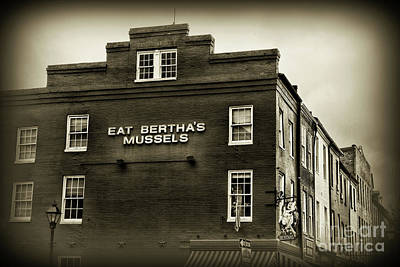 Photograph - Eat Berthas Mussels In Black And White by Paul Ward