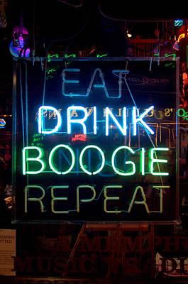 Eat Drink Boogie Repeat Beale Street Memphis Tennessee Art Print by Wayne Higgs