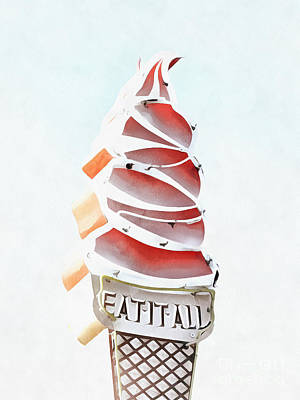 Digital Art - Eat It All Soft Serve Ice Cream by Edward Fielding