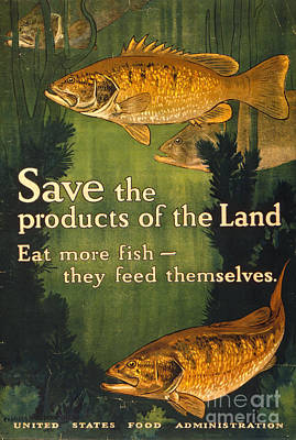 Eat More Fish Vintage World War I Poster Art Print by John Stephens