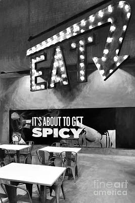 Photograph - Eat Spicy Food Bw by Mel Steinhauer