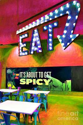 Nostalgic Sign Photograph - Eat Spicy Food by Mel Steinhauer