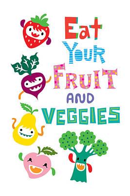 Digital Art - Eat Your Fruit And Veggies by Andi Bird