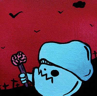 Abomination Mixed Media - Eating Brains Zombie Mushroom by Jera Sky