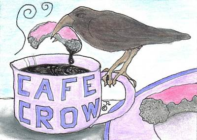 Eating Crow Doughnuts And Coffee Art Print by Joshua Hullender