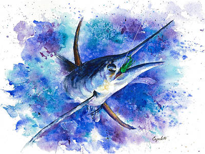 Sportfish Boat Painting - Eating The Bait by Barb Capeletti