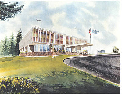 Painting - Eaton Corp Administration Building by Dale Turner
