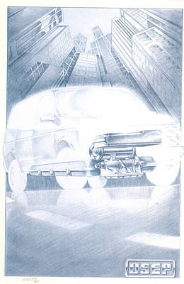 Drawing - Eaton Electric Van by Dale Turner