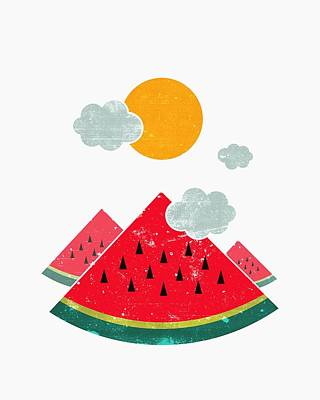 Watermelon Drawing - Eatventure Time by Mustafa Akgul