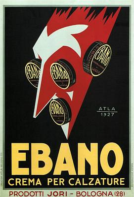Mixed Media - Ebano Crema Per Calzature - Bologna, Italy - Vintage Advertising Poster by Studio Grafiikka