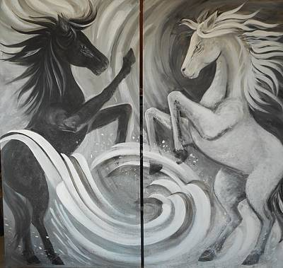 Lynn Burton Wall Art - Painting - Ebony And Ivory by Lynn Burton