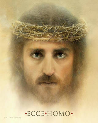 Jesus Face Digital Art - Ecce Homo With Quote by Ray Downing