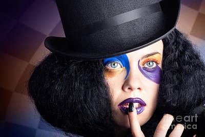 Eccentric Mad Fashion Hatter In Colourful Makeup Art Print by Jorgo Photography - Wall Art Gallery