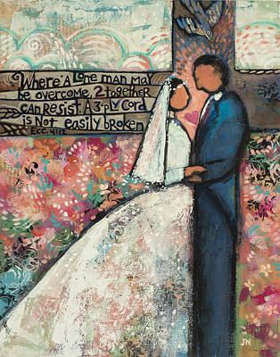 Cord Painting - Ecclesiastes 4 12 Wedding Art by Jen Norton