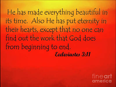 Photograph - Ecclesiastes -  From Here To Eternity by Carol F Austin