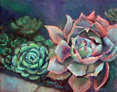 Succulent Painting - Echeveria by Athena  Mantle