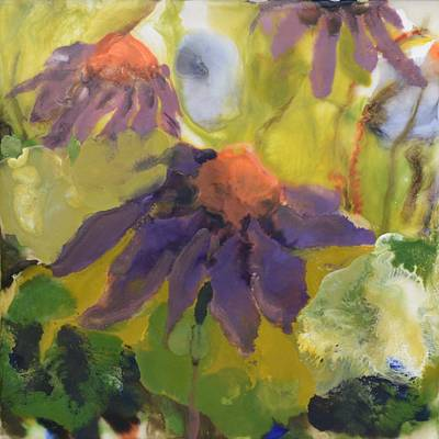 Florals Painting - Echinacea Encaustic Painting by Donna Tuten