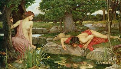 Lake Painting - Echo And Narcissus by John William Waterhouse