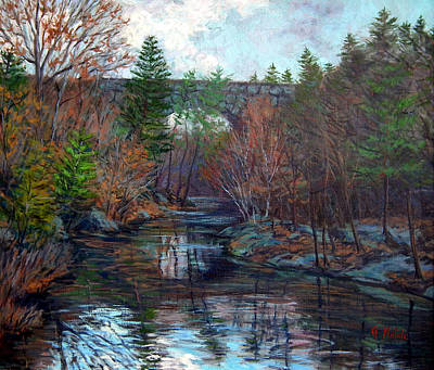 Newton Painting - Echo Bridge Fall Newton Ma  by Gerard Natale