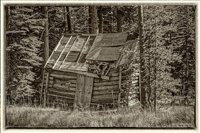 Hdr Photograph - Echo Lake Cabin Monochrome by LeeAnn McLaneGoetz McLaneGoetzStudioLLCcom