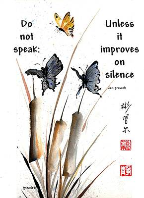 Echo Of Silence With Zen Proverb Art Print