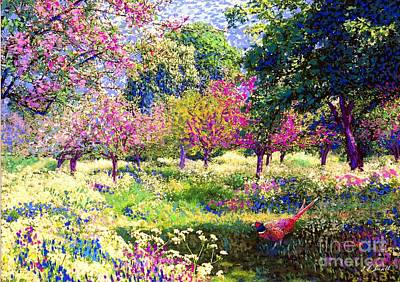 Modern Landscape Painting - Echoes From Heaven, Spring Orchard Blossom And Pheasant by Jane Small