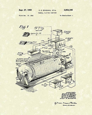 Tape Drawing - Eckdahl Computer 1960 Patent Art by Prior Art Design
