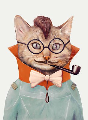Funny Cat Painting - Eclectic Cat by Animal Crew