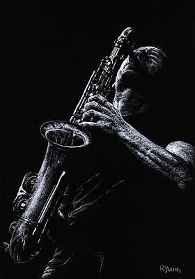 Saxophone Player Pastel - Eclectic Sax by Richard Young
