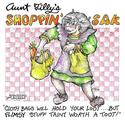 Painting - Real Fake News Ad Tilly's Shoppin' Sak by Dawn Sperry