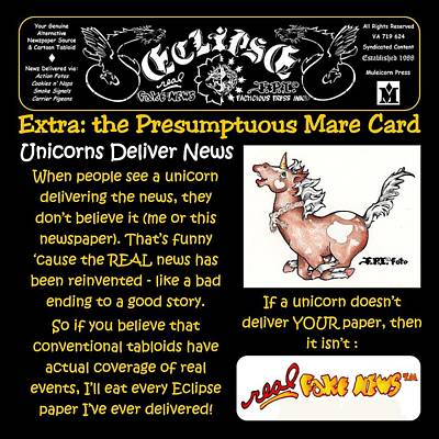 Drawing - Real Fake News Mare Card by Dawn Sperry
