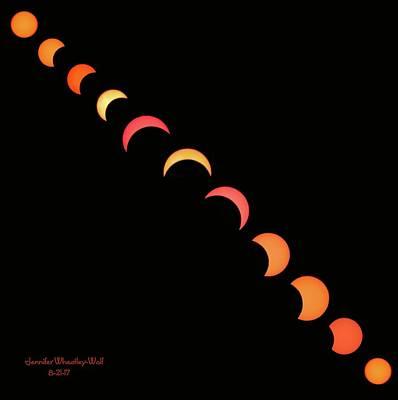 Photograph - Eclipse Progression 8-21-17 Signed by Jennifer Wheatley Wolf