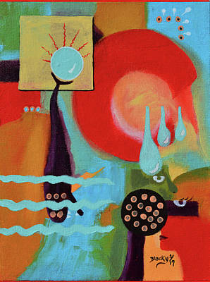 Mixed Media - Eclipsing Troubled Waters by Donna Blackhall