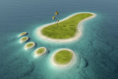Environmental Photograph - Eco Footprint Shaped Island by Johan Swanepoel