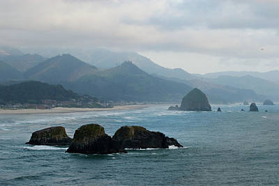 Ecola State Park View Of Haystack Rock And 3 Arch Rocks Art Print