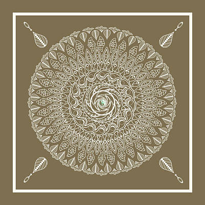 Drawing - Ecru Mandala by Deborah Smith