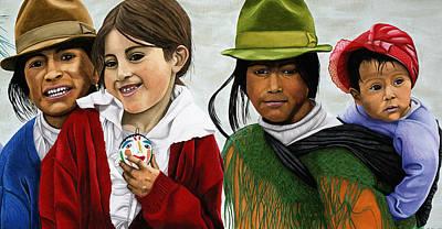 Painting - Ecuadorian Girls by Hollis Chatelain