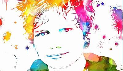Elton John Mixed Media - Ed Sheeran Paint Splatter by Dan Sproul