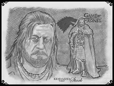 Drawing - Eddard Stark by Chris  DelVecchio