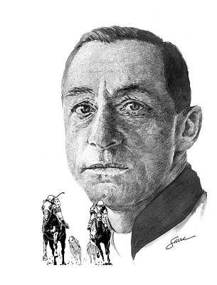 Portraits Drawing - Eddie Arcaro by Harold Shull