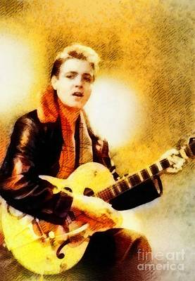 Music Paintings - Eddie Cochran, Music Legend by John Springfield by Esoterica Art Agency