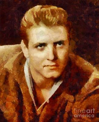 Music Paintings - Eddie Cochran Vintage Singer by Esoterica Art Agency