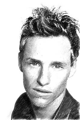 Actor Digital Art - Eddie Redmayne Portrait by Best Actors
