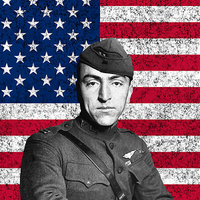 Landmarks Painting Royalty Free Images - Eddie Rickenbacker and The American Flag Royalty-Free Image by War Is Hell Store