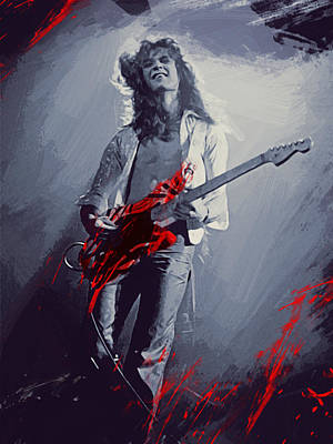 Stratocaster Drawing - Eddie Van Halen by Afterdarkness