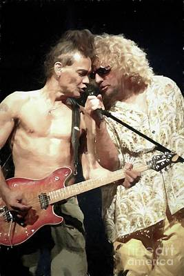 Van Halen Painting - Eddie Van Halen And Sammy Hagar Painting by Concert Photos